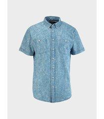 camisa denim de rayas manga corta para hombre 08385