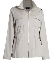 mock-neck linen-blend jacket