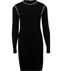 trim long sleeve crew dress