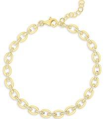 chloe & madison women's 18k goldplated sterling silver & crystal chain bracelet