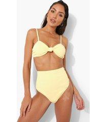 opgeknoopte strapless bikini top met textuur, lemon