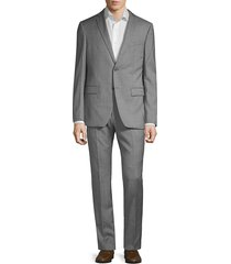 john varvatos star u.s.a. men's slim-fit textured wool suit - pewter - size 42 l