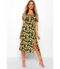 bloemenprint midi jurk met vierkante hals, geel