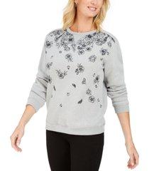 karen scott floral-print fleece sweatshirt, created for macy's