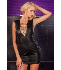 soleil by xxx collection zwarte leren jurk diepe veter nek en halslijn