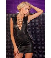 * soleil by xxx collection zwarte leren jurk diepe veter nek en halslijn