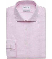 calvin klein men's pink blossom grid slim fit performance wicking dress shirt - size: 19 34/35