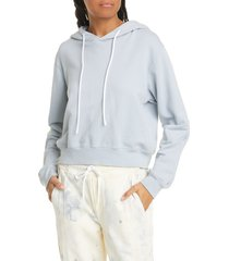 women's cotton citizen milan crop distressed hoodie, size small - blue