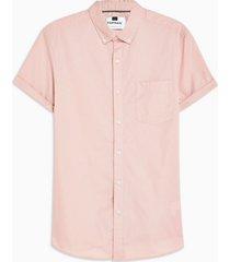 mens dusky pink stretch skinny oxford shirt