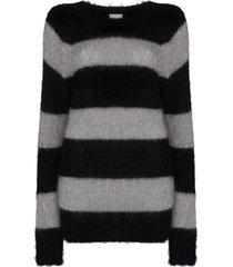 erdem heath stripe-pattern jumper - grey