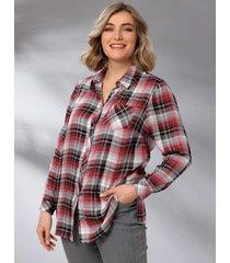 blouse m. collection rood::zwart::grijs