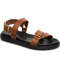 biadebbie leather strap sandal shoes summer shoes flat sandals brun bianco