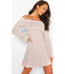 bardot fit & flare dress with fluted edge, silver