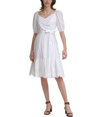 calvin klein cotton faux-wrap dress