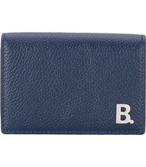 balenciaga mini b leather wallet - blue