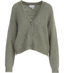 ganni soft wool knit round neck l/s cardigan