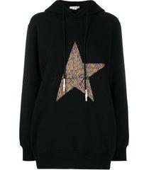 golden goose logo-embroidered hoodie - black
