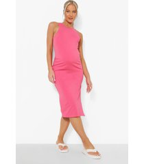 zwangerschap midi jurk met racer hals en zijsplit, hot pink