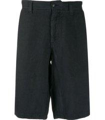 emporio armani linen bermuda shorts - blue