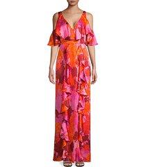flor et. al women's beatrix ruffle silk gown - magenta multicolor - size 6