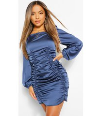 petite satin ruched front volume sleeve dress, dark blue