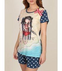 pyjama's / nachthemden admas pyjama kort t-shirt zomerdagen santoro marine