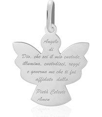 ciondolo angelo preghiera in oro bianco per unisex