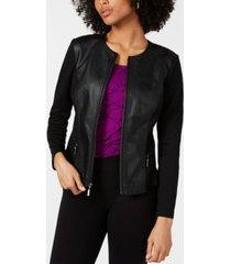 alfani petite faux-leather mixed-media jacket, created for macy's