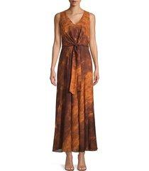 lafayette 148 new york women's ambrosia sunset sky silk maxi dress - canyon multi - size 10