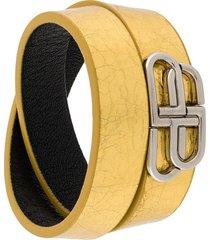 balenciaga logo plaque wrap style bracelet - gold