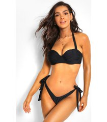 fuller bust ruched cup underwire bikini top, black