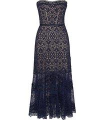 lace strapless modified a-line midi dress
