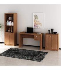 conjunto de escritório com mesa, armário alto e baixo 02 amêndoa dallas - tricae