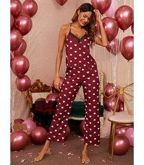 conjunto de pijama con ribete de encaje y diseño sin espalda de corazón burdeos