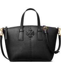 tory burch mcgraw mini leather satchel - black