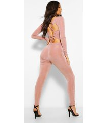 lace up textured slinky skinny leg jumpsuit, taupe