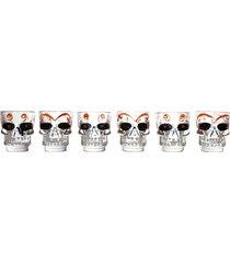 conjunto 6 copos de vidro para shot caveira 50ml