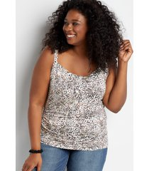 maurices plus size womens 24/7 animal print cowl front rouched tank top white