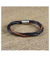 leather wristband bracelet, 'harmonious braid' (thailand)
