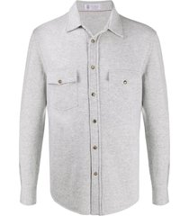 brunello cucinelli pointed toe knitted shirt - grey