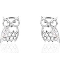 orecchini a lobo gufo in argento rodiato e zirconi per donna