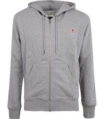 ami alexandre mattiussi zip logo embroidered hoodie