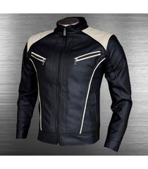 chaqueta cuerotex tipo slim casual color negro- beige
