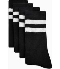 mens black with white stripe tube socks 4 pack