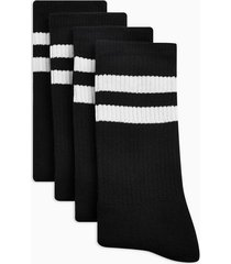 mens black with white stripe tube socks 4 pack