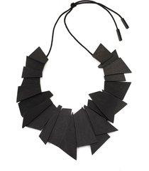natori acacia wood geometric necklace, women's