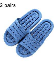 2 pares hombres y mujeres antideslizante baño ducha zapatillas sandalias para parejas adultas, talla: eu 44 / 45 (azul oscuro)