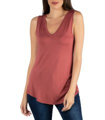 24seven comfort apparel v-neck tunic tank top with round hemline