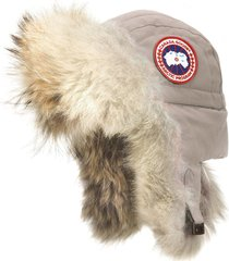 women's canada goose aviator hat with genuine coyote fur trim, size small/medium - grey