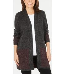 karen scott open-front contrast-trim cardigan, created for macy's